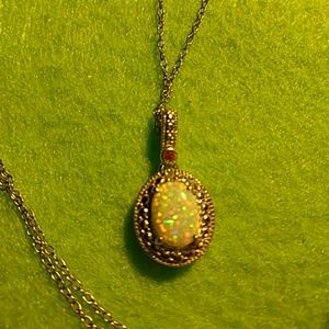 Jewelry - Sterling silver 18 in chain with genuine opal Ruby